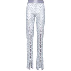 Sneakers-Laces-Like Embroidered Trousers | Moda Operandi ($458) ❤ liked on Polyvore featuring pants, high-waisted trousers, high-waist trousers, high waisted pants, embroidered pants and highwaist pants