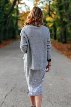 His & Hers: Holiday Style sequin pencil skirt, gray turtleneck sweater, wavy ombre bob
