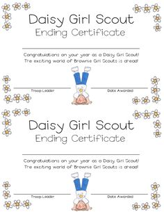 Daisy Girl Scout Ending certificate