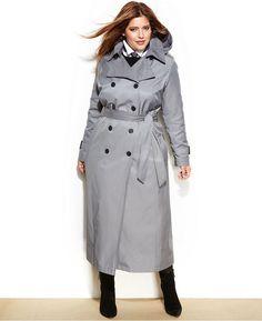 DKNY Plus Size Maxi Trench Coat
