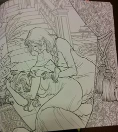 Mor and Feyre. I want this coloring book just to stare at the lineart.