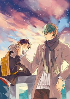 Wow... Pretty MidoTaka fanart... :] ...I'd love to watch the sunset with my own Megane-wearing Tsundere one day! ^///^
