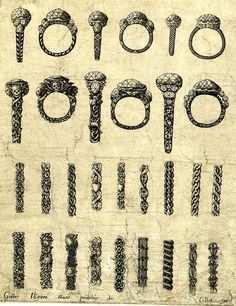 Memento mori, designs by Gilles Légaré for memento mori rings from his Livre des ouvrage dorfevrerie 1663, British Museum by Talking Jewellery, via Flickr