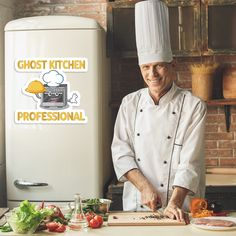 """""""Ghost Kitchen Professional."""" Fashion and décor for food preparation pros. Let everyone know you're a virtual restaurant professional with a quirky sense of humor. #redbubble #findyourthing #cooking #restaurant #chef #stickers #laptopstickers Quirky T Shirts, Cooking Restaurant, Everyone Knows, Food Preparation, Finding Yourself, Posters, Stickers, Kitchen, Gifts"""