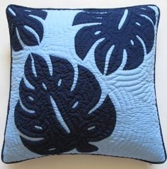 """Amazon.com - Hawaiian Quilt 2 Pillow Covers, Cushions, 100% Hand Quilted/hand Appliqued 18"""""""