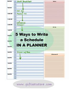Giftie Etcetera: 5 Ways to Write a Schedule in a Planner