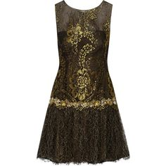 Marchesa Notte Metallic embroidered lace mini dress ($318) ❤ liked on Polyvore featuring dresses, short dresses, vestido, black, beaded dress, sequin cocktail dresses, short lace dress, lace cocktail dress and lace dress