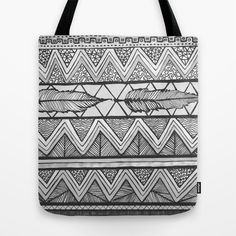 Two Feathers Monochrome Tote Bag by Lisa Argyropoulos - $22.00