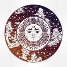 Круглая рисунок ночное небо с солнцем. Луна внутри — стоковая иллюстрация #114943150