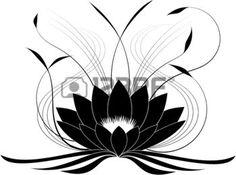dessin fleur lys: Lotus Noir japonais (illustration vectorielle)