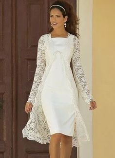 Tea Length Long Sleeve Lace Wedding Dress,Informal Modest Short Wedding Dress · Sancta Sophia · Online Store Powered by Storenvy Wedding Dresses For Older Women, Older Bride Dresses, Mother Of Bride Outfits, Mother Of Groom Dresses, Bride Gowns, Wedding Dress Older Bride, Mother Bride Dress, Lace Wedding, Wedding Dress Over 40