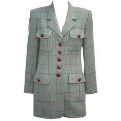 Preowned 1980's Rena Lange Window Pane Print Green & Oxblood Jacket (€235) ❤ liked on Polyvore featuring outerwear, jackets, blazers, red, 80s jackets, cashmere blazer, oxblood blazer, oxblood jacket and patterned blazer