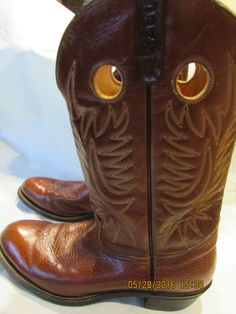 Vintage Red Wing Pecos Brown Leather Western Enbroidered Boots 9812 Size 13