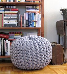 Extra Extra Large Knit Pouf Footrest | Kicking back and actually relaxing is a cinch with this knit p... | Ottomans