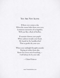 You Are Not Alone. Beautiful love and friendship poem.