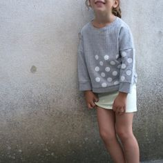 Blue Sweatshirt with large white polka dots pattern  . *SweetieHam* .