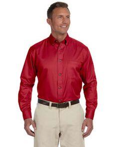 Harriton Men's Easy Blend™ Long M500 Red