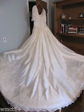 Wedding Gown Duchess by Mori Lee Short Sleeve 100% SILK Ivory #10 Pre-owned