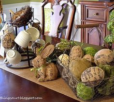 Easy DIY Home Decor Crafts: My Burlapy and Vintagey Easter Centerpiece