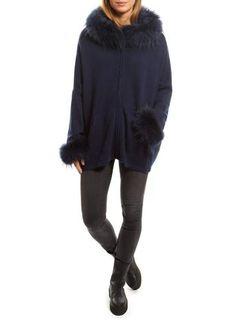 Dom Goor Navy Swing Cardigan With Fur Trim