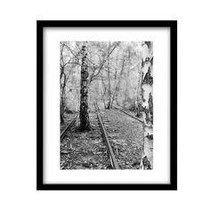 Binari del treno stampe bianco e nero fotografia in di JamesClancy