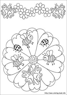 ☮ American Hippie Art ~ Coloring Pages .. Mandala Insects