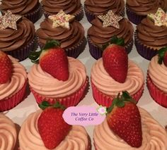 Chocolate cupcakes with chocolate jazzy stars alongside Vanilla & strawberry cupcakes topped with fresh strawberries