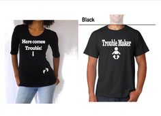 Gift Set mom and dad to be Shirt, Here Comes Trouble and Trouble Maker Choose your size via Etsy