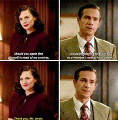 """Thank you, Mr. Jarvis."" CRYING WITH HAPPINESS AND SADNESS WHY DID THIS SHOW HAVE TO END Agent Carter"