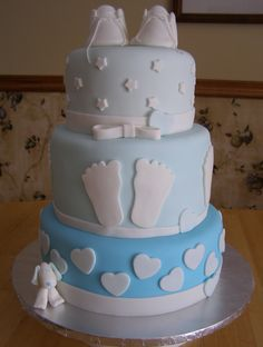 One of my favorite baby shower cakes. The shoes are handmade from fondant-Fontastic-Cakes-Berea, Ohio