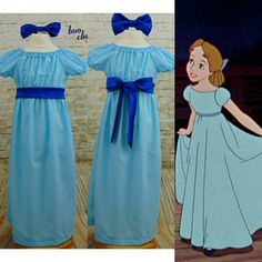 f3a7045621 Wendy Darling Costume With Hair Bow By BoochyClothing On Etsy
