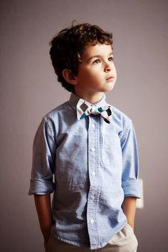 bow tie and denim, cute! @Andrea / FICTILIS Grabowski reminds me of Talan!