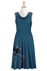 Cowl neck birdsong dress