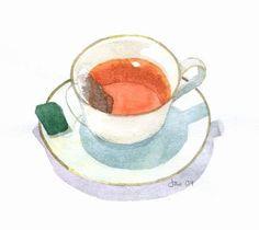 Assam Black Tea  Watercolor 5x5 Print by KitchenFairies on Etsy, $10.00