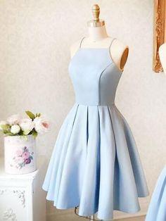 2017 Homecoming Dress Sexy Satin Light Sky Blue Short Prom Dress Party Dress JK135