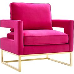 $500 Avery Pink Velvet Arm Chair on Gold Stainless Steel Legs #dynamichome