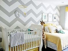 How cute is the use of Chevron on the walls in this nursery? // very cute!
