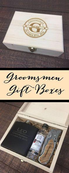 Groomsmen Cigar Box Engraved Wood Cigar Box Groomsmen Gifts