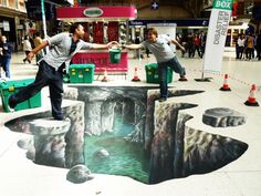 """Shelterbox"" by Wasabi 3D. 3D street art for charity, with Shelterbox in Victoria Stations, London."
