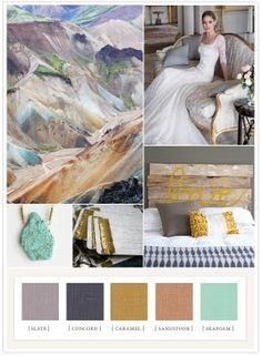 Slate Purple, Gray, Mustard, Burnt Peach, Seafoam (from 100 layer cake)