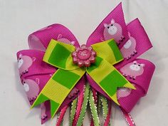 Adorable Pink Piggy and Bold Striped Hair Bow French Barrette Clip with Glittery Pink Flower Detail