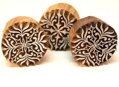 Small Round Henna Mehindi Indian Wood Block Printing Stamp    catfluff - Craft Supplies on ArtFire
