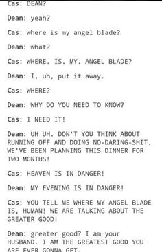 Cas and Dean being a couple. I can't stop laughing. This is just like the incredibles. Where's my super suit?