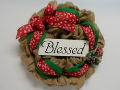 Christmas Burlap Wreath, Burlap with Blessed Sign, Country Burlap, Blessed Wreath, Christmas Religious Wreath, Holliday Wreath, Door Wreath by BeautifulHomeAccents on Etsy