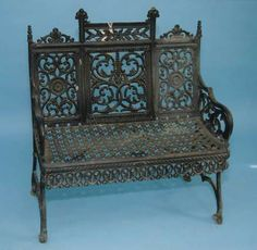 This Renaissance revival settee is originally from Lutheran cemetery in Middleburg, NY.  Around 1930-1935, it was difficult to find anyone willing to cut the grass around the cast iron furniture so they got rid of them all. Garden Furnishings Collection, Smithsonian.  http://siris-archives.si.edu/ipac20/ipac.jsp?&profile=all&source=~!siarchives&uri=full=3100001~!252549~!0#focus