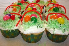 Jelly Bean Easter Basket Cupcakes #easter #activity #kids #craft #recipe