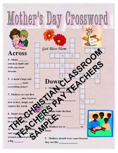 The Christian Classroom On Teachers Pay Mothers Day Crossword Puzzle Makes A Great Center Activity