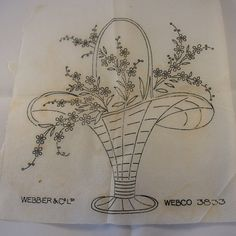 Flower Basket  Vintage Iron-on Transfer  Webco 3833