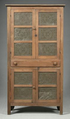 Ten-tin walnut and poplar pie safe,