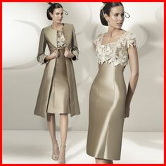 2014 Mother  Dresses Arrival Scoop Satin Appliqued Knee Length Lace With Long Sleeves Jacket wedding Dresses of the Bride Dress